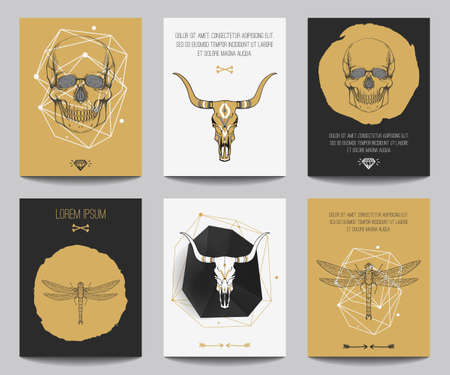 skull logo: Vector set of gothic posters with human skulls, bull skulls, dragonflies, geometrical shapes. Trendy hipster style for flyers, banners, brochures, invitations, business contemporary design. Modern gold, black and white colors.