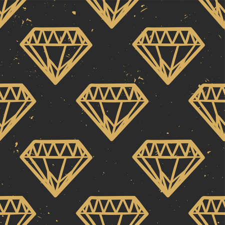 Vector seamless grunge pattern with vintage diamonds. Rock and roll style. Trendy hipster design. Modern gold and black colors.