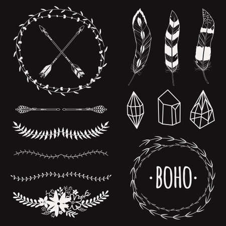 floral elements: Vector ethnic black and white set with arrows, feathers, crystals, floral frames, borders. Modern romantic boho style. Templates for invitations, scrapbooking. Hippie design elements.
