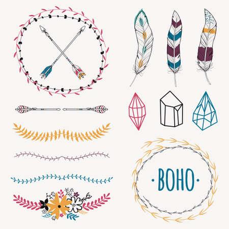 Vector colorido conjunto étnico con flechas, plumas, cristales, cuadros de flores, las fronteras. estilo boho romántica moderna. Las plantillas para invitaciones, álbum de recortes. elementos de diseño hippie.