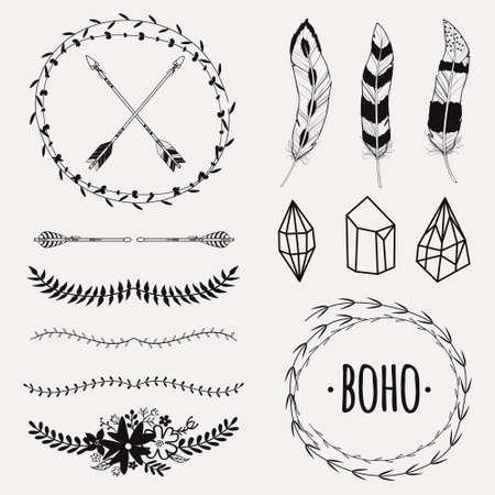 浪漫: 矢量黑白種族集箭頭,羽毛,水晶,花卉幀,邊界。現代浪漫的波西米亞風格。模板邀請,剪貼簿。嬉皮的設計元素。 向量圖像