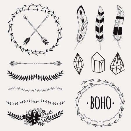 Vector monochrome ethnic set with arrows, feathers, crystals, floral frames, borders. Modern romantic boho style. Templates for invitations, scrapbooking. Hippie design elements. Çizim