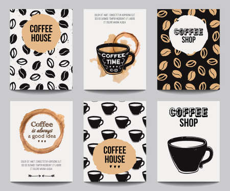 drinking coffee: Vector set of modern posters with coffee backgrounds. Trendy hipster templates for flyers, banners, invitations, restaurant or cafe menu design.