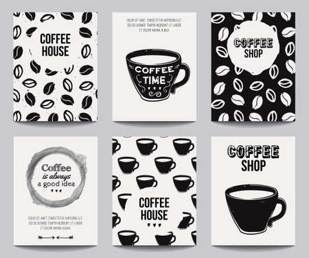 Vector set of modern posters with coffee backgrounds trendy vector monochrome set of modern posters with coffee backgrounds trendy hipster templates for flyers stopboris Image collections