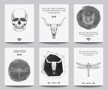 gothic: Vector set of modern gothic posters with human skulls, bull skulls, dragonflies, geometrical shapes. Trendy hipster style for flyers, banners, brochures, invitations, business contemporary design.