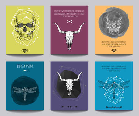 contemporary design: Vector set of modern posters with human skulls, bull skulls, dragonflies, geometrical shapes. Trendy hipster style for flyers, banners, brochures, invitations, business contemporary design.