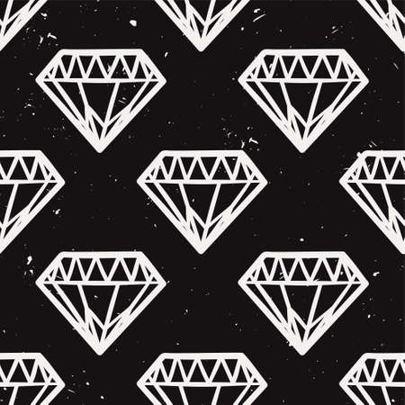 glam rock: Vector seamless monochrome grunge pattern with vintage diamonds. Rock and roll style. Trendy hipster design.