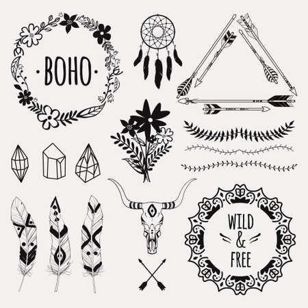 floral elements: Vector monochrome ethnic set with arrows, feathers, crystals, floral frames, borders, dream catcher, bull skull. Modern romantic boho style. Templates for invitations, scrapbooking. Hippie design elements.