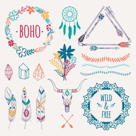 Vector colorido conjunto étnico con flechas, plumas, cristales, cuadros de flores, fronteras, colector ideal, cráneo del toro. estilo boho romántica moderna. Las plantillas para invitaciones, álbum de recortes. elementos de diseño hippie.