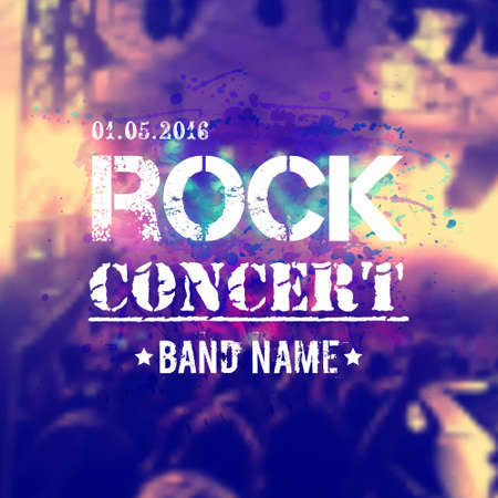 rock stage: Vector blurred background with rock stage and crowd. Rock concert design template with watercolor splatter and place for text.