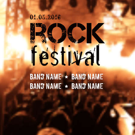 rock stage: Vector blurred background with rock stage and crowd. Rock festival design template with place for text.