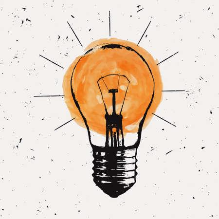 Vector Grunge Illustration mit Glühbirne. Moderne Hipster Skizze Stil. Idee und kreatives Denken Konzept. Lizenzfreie Bilder - 55723032