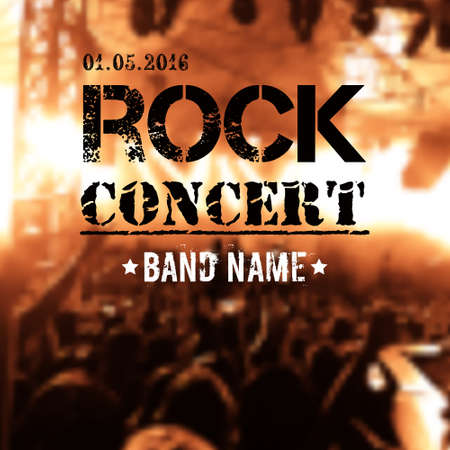 rock stage: Vector blurred background with rock stage and crowd. Modern grunge rock concert design template with place for text.