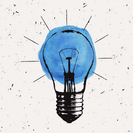 Vector grunge illustratie met gloeilamp. Modern hipster schets stijl. Idee en creatief denken concept. Stockfoto - 55723217