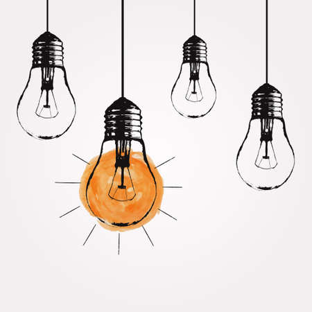 Vector grunge illustration with hanging light bulbs and place for text. Modern hipster sketch style. Unique idea and creative thinking concept. Vettoriali