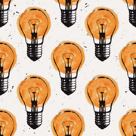 idea sketch: Vector grunge seamless pattern with light bulbs. Modern hipster sketch style. Idea and creative thinking concept.