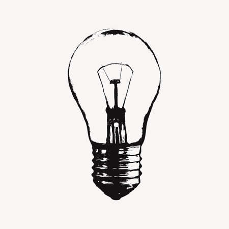Vector illustration with light bulb. Modern hipster sketch style. Idea and creative thinking concept.