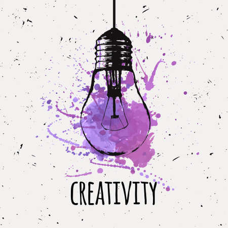 Vector illustration with hanging grunge light bulb with watercolor splash. Modern hipster sketch style. Idea and creativity concept. Ilustração