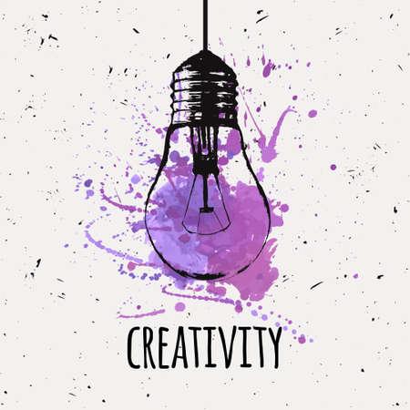 Vektor-Illustration mit Grunge-Glühbirne mit Aquarell splash hängen. Moderne Hipster Skizze Stil. Idee und Kreativität Konzept.