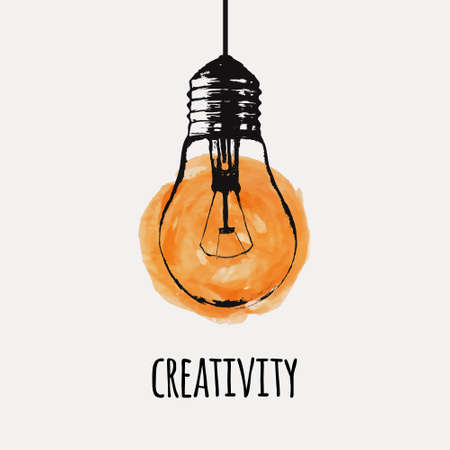 Vector illustration with hanging grunge light bulb. Modern hipster sketch style. Idea and creativity concept. Vectores