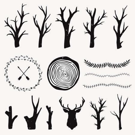 tree stump: Vector graphic set with forest design elements. Branches, tree rings, leaf dividers. Tribal and boho style. Rustic design.