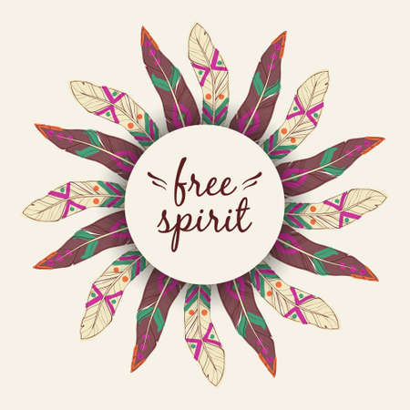 free spirit: Vector ethnic illustration with feather frame in boho style. Tribal design. Free spirit concept.