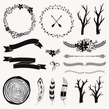 decoration style: Vector monochrome decoration set with arrows, feathers, floral frames, borders, ribbons, branches. Modern romantic boho style. Templates for invitations, scrapbooking. Hippie design elements. Illustration