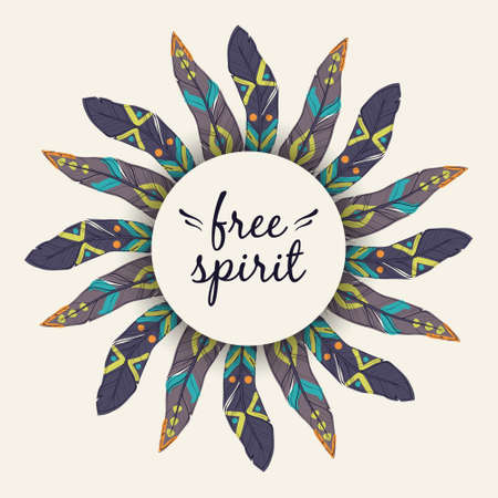 Vector ethnic illustration with feather frame in boho style. Tribal design. Free spirit concept.