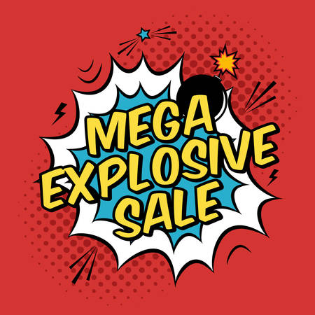 bomb price: Vector colorful pop art illustration with mega explosive sale discount promotion. Decorative template with halftone background and bomb explosion in modern comics style.