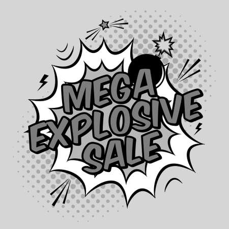 bomb price: Vector black and white pop art illustration with mega explosive sale discount promotion. Decorative template with halftone background and bomb explosion in modern comics style. Illustration