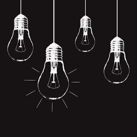 grunge illustration with hanging light bulbs and place for text. Modern hipster sketch style. Unique idea and creative thinking concept. Ilustração