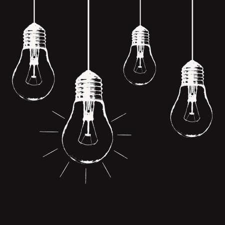 pensamiento creativo: ilustración del grunge con colgar las bombillas y el lugar de texto. estilo de dibujo última moda moderna. idea única y el concepto de pensamiento creativo.