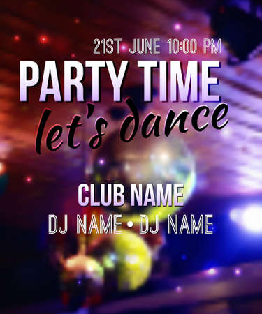 dubstep: blurred background with disco ball and lights. Night party template with place for text. Can be used as poster or invitation.