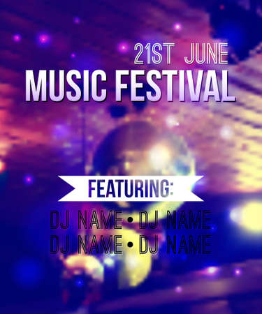 neon party: blurred background with disco ball and lights. Music festival template with place for text. Can be used as poster or invitation.