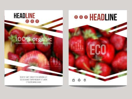 Plantilla de diseño de folletos con el fondo de la falta de definición con las frutas y fresa. alimentos sanos y frescos, concepto vegetariana y ecológica. Puede ser utilizado para la presentación, web, revista, cartel. Foto de archivo - 56301608