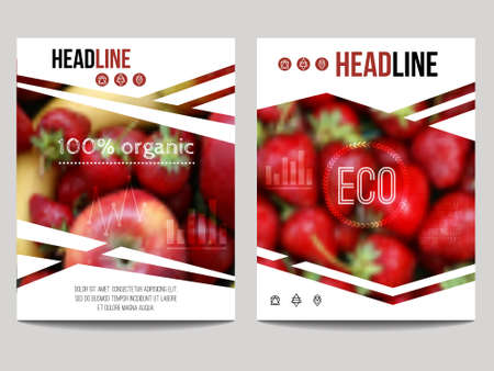 brochure design template with blur background with fruits and strawberry. Healthy fresh food, vegetarian and eco concept. Can be used for presentation, web, magazine, cover, poster.