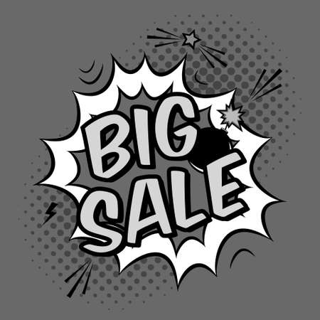 bomb price: monochrome pop art illustration with big sale discount promotion. Decorative template with halftone background and bomb explosion in modern comics style. Illustration