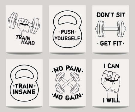 motivational: Vector set of modern fitness templates with hands, dumbbells, weight and motivational phrases. Trendy workout backgrounds.