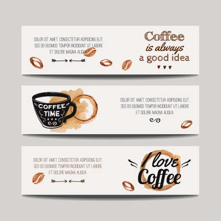 beans: Vector set of modern banners with coffee backgrounds. Trendy hipster templates for flyers, posters, invitations, restaurant or cafe menu design.