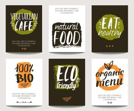 Vector mit umweltfreundlichen und Bio-Lebensmittel-Vorlagen. Trendy Vegetarier Plakate für Flyer, Banner, Restaurant oder Café-Menü-Design. Natürliche Lebensmittel und gesunden Lifestyle-Konzept.