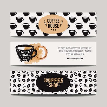 Vector conjunto de banderas modernas con fondos de café. plantillas inconformista de moda para folletos, carteles, invitaciones, restaurante o cafetería de diseño del menú.