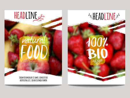 Vector brochure design template with blur background with fruits and strawberry. Healthy fresh food, vegeterian and eco concept. Can be used for presentation, web, flyer, magazine, cover, poster.
