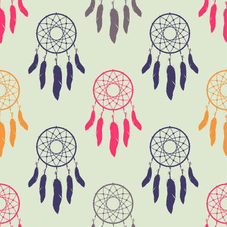 colofrul: Vector colofrul seamless pattern with dream catchers. Boho design