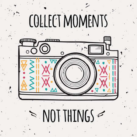 """Vector illustration with retro photo camera and typography phrase """"Collect moments not things""""."""