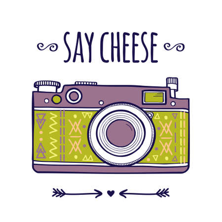 cheese: Vector illustration with cute retro photo camera and typography phrase Say cheese Illustration