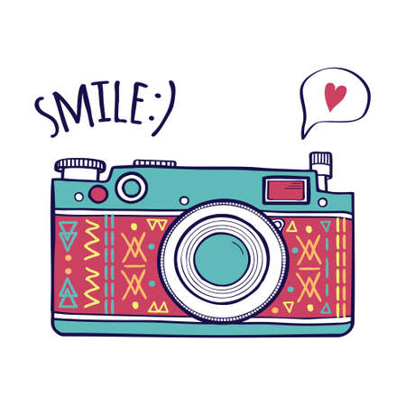 camera: Vector illustration with cute retro photo camera, typography phrase Smile with speech bubble and heart. Modern design