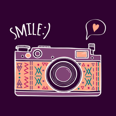zoom: Vector illustration with cute retro photo camera, typography phrase Smile with speech bubble and heart. Modern design