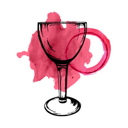 wine stains: Vector illustration of wine glass sketch with spilled wine stains isolated on white background. Hand drawn style.
