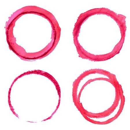 Vector set met ronde rode wijn vlekken op een witte achtergrond.