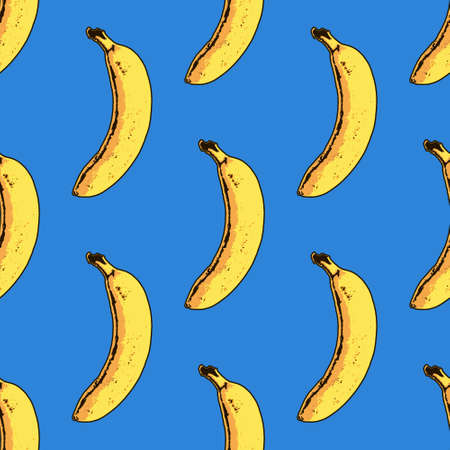 Vector seamless banana pattern. Modern tropical print Ilustrace